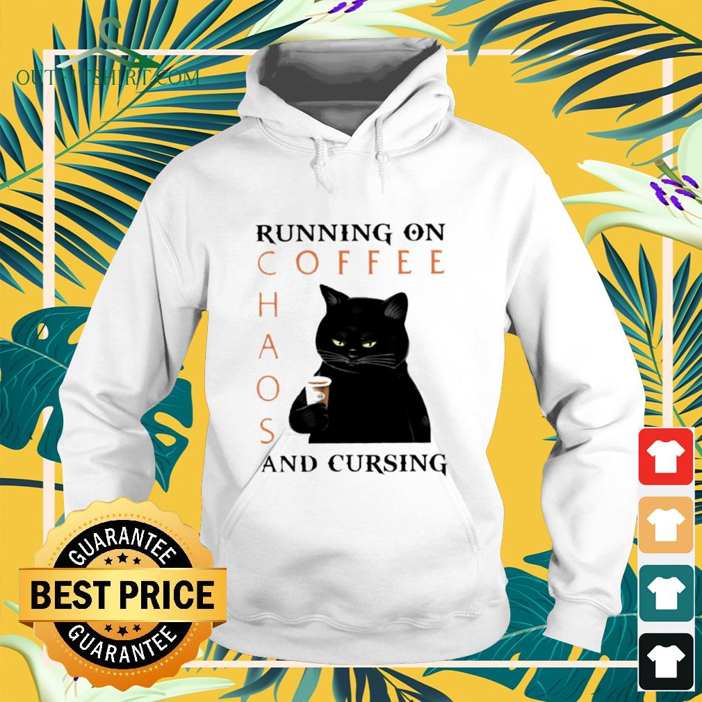 Black cat running on coffee chaos and cursing hoodie