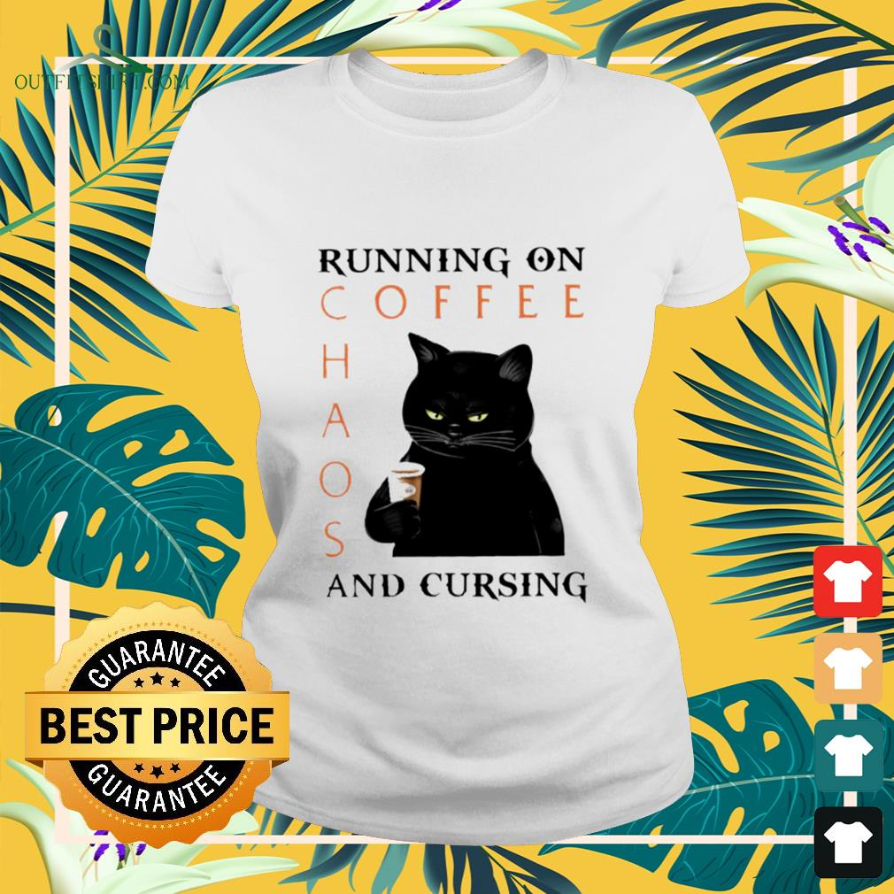 Black cat running on coffee chaos and cursing ladies-tee