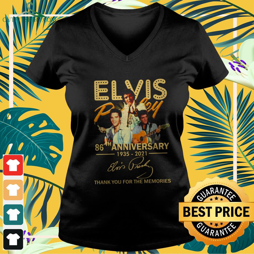 Elvis Presley 86th Anniversary 1935-2021 signature thank you for the memories v-neck t-shirt
