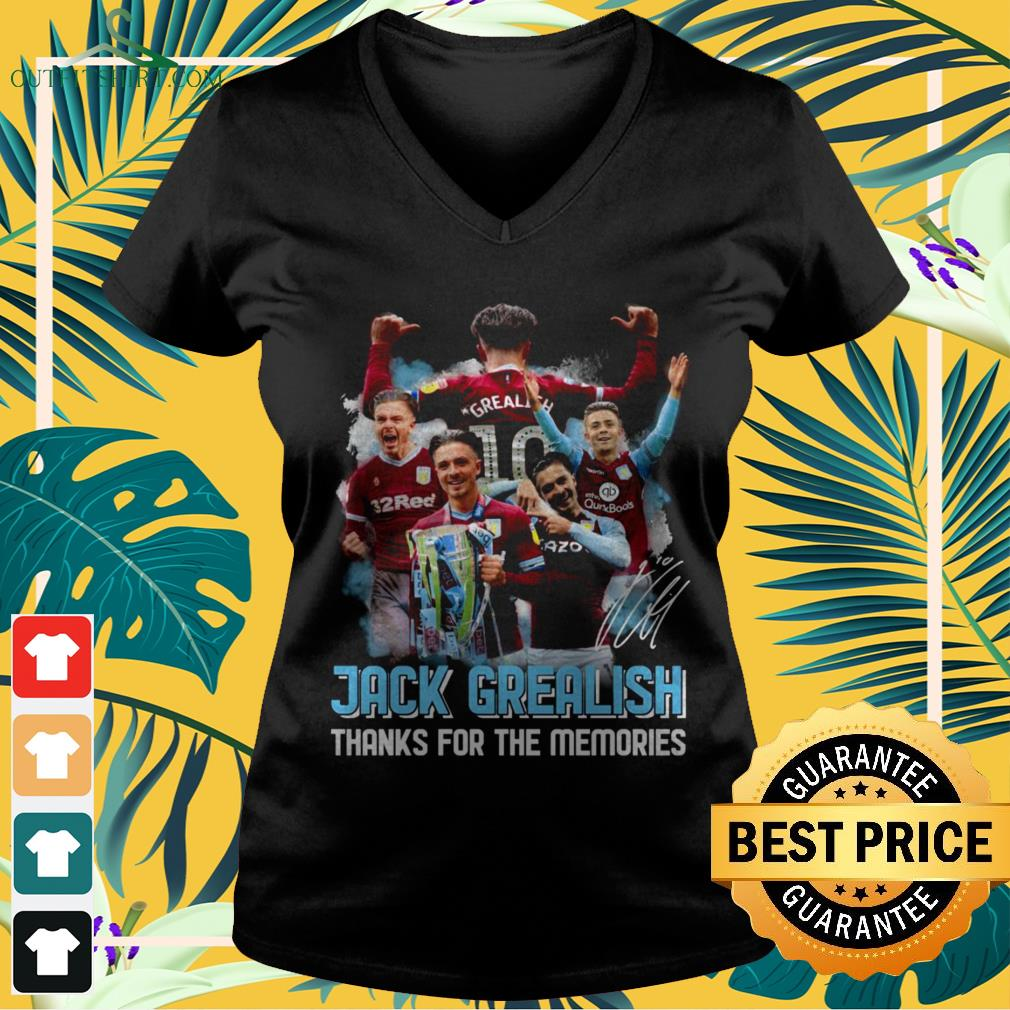 Jack Grealish thanks for the memories signatures v-neck t-shirt