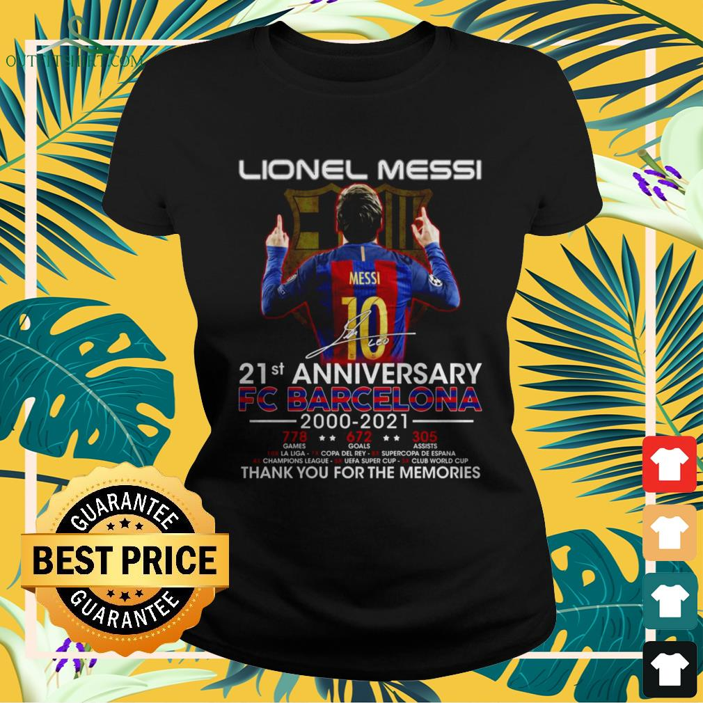 Lionel Messi 21st Anniversary 2000-2021 thank you for the memories signatures ladies-tee