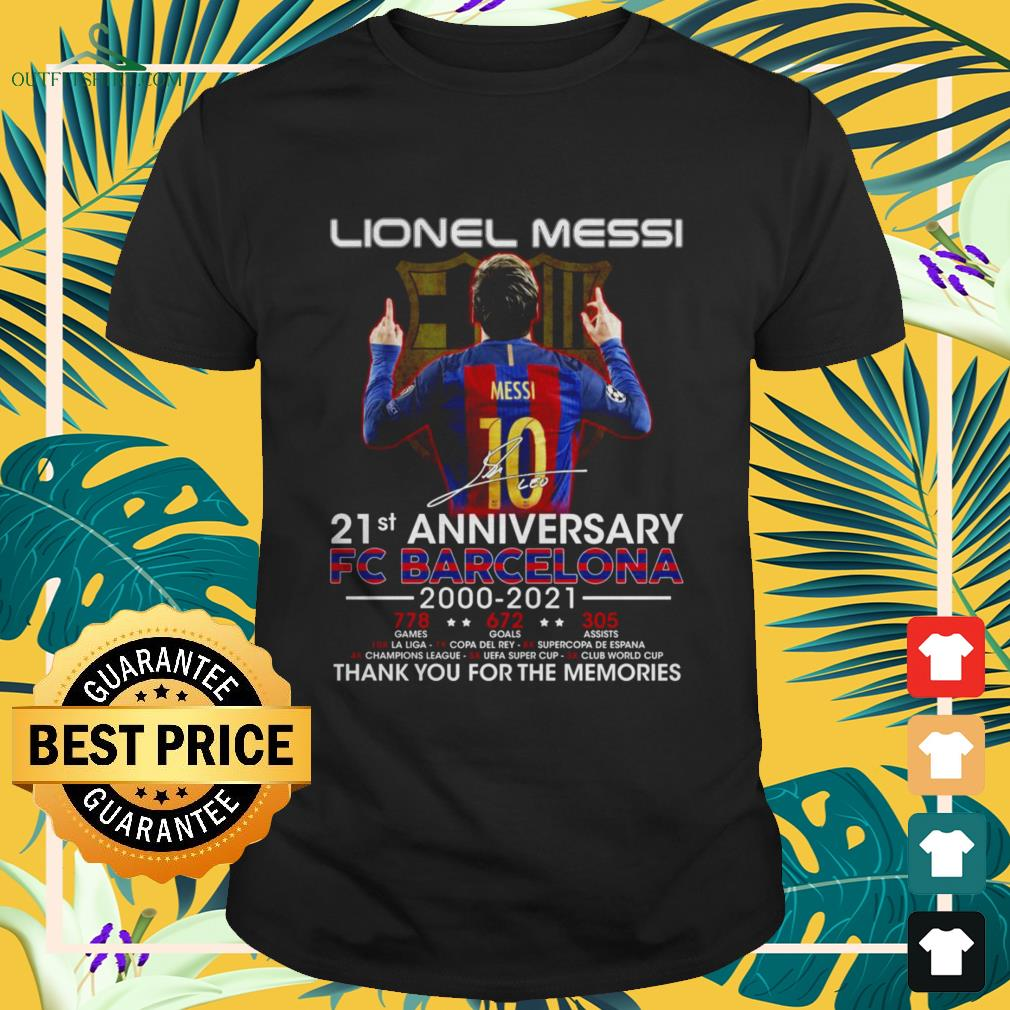 Lionel Messi 21st Anniversary 2000-2021 thank you for the memories signatures shirt