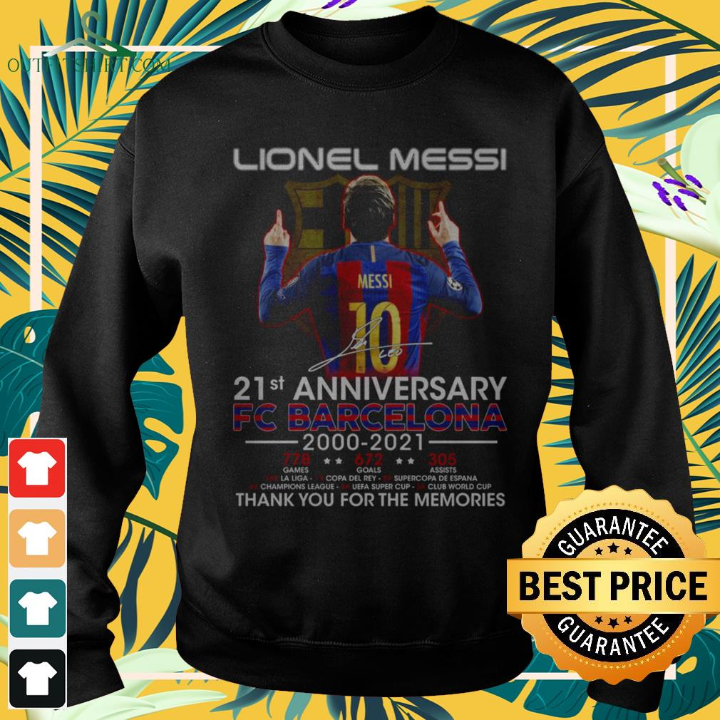 Lionel Messi 21st Anniversary 2000-2021 thank you for the memories signatures sweater