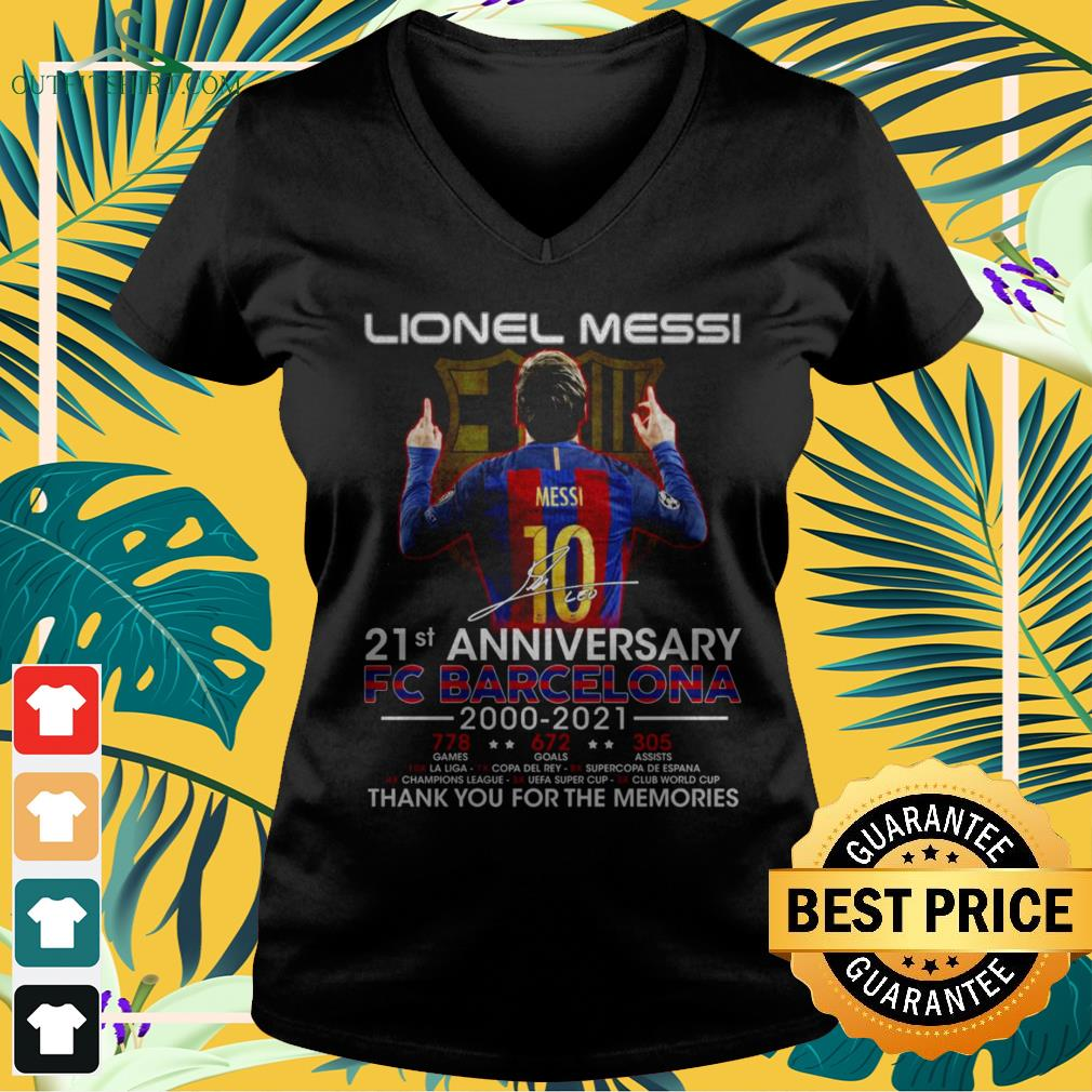 Lionel Messi 21st Anniversary 2000-2021 thank you for the memories signatures v-neck t-shirt