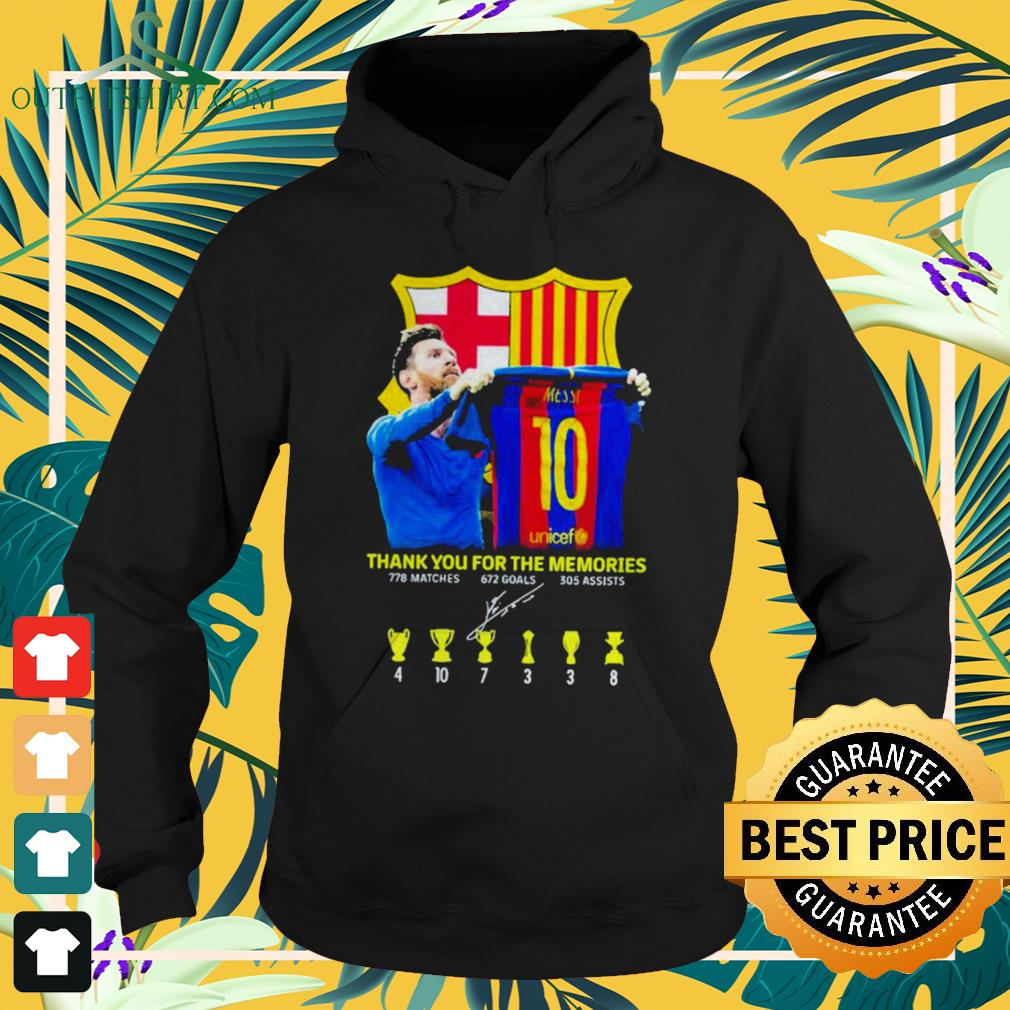 Lionel Messi thank you for the memories 778 matches 672 goals 305 assists signature hoodie