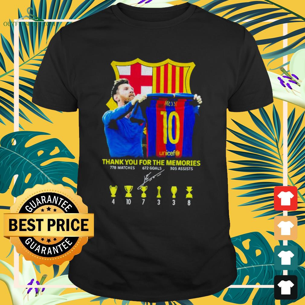 Lionel Messi thank you for the memories 778 matches 672 goals 305 assists signature shirt
