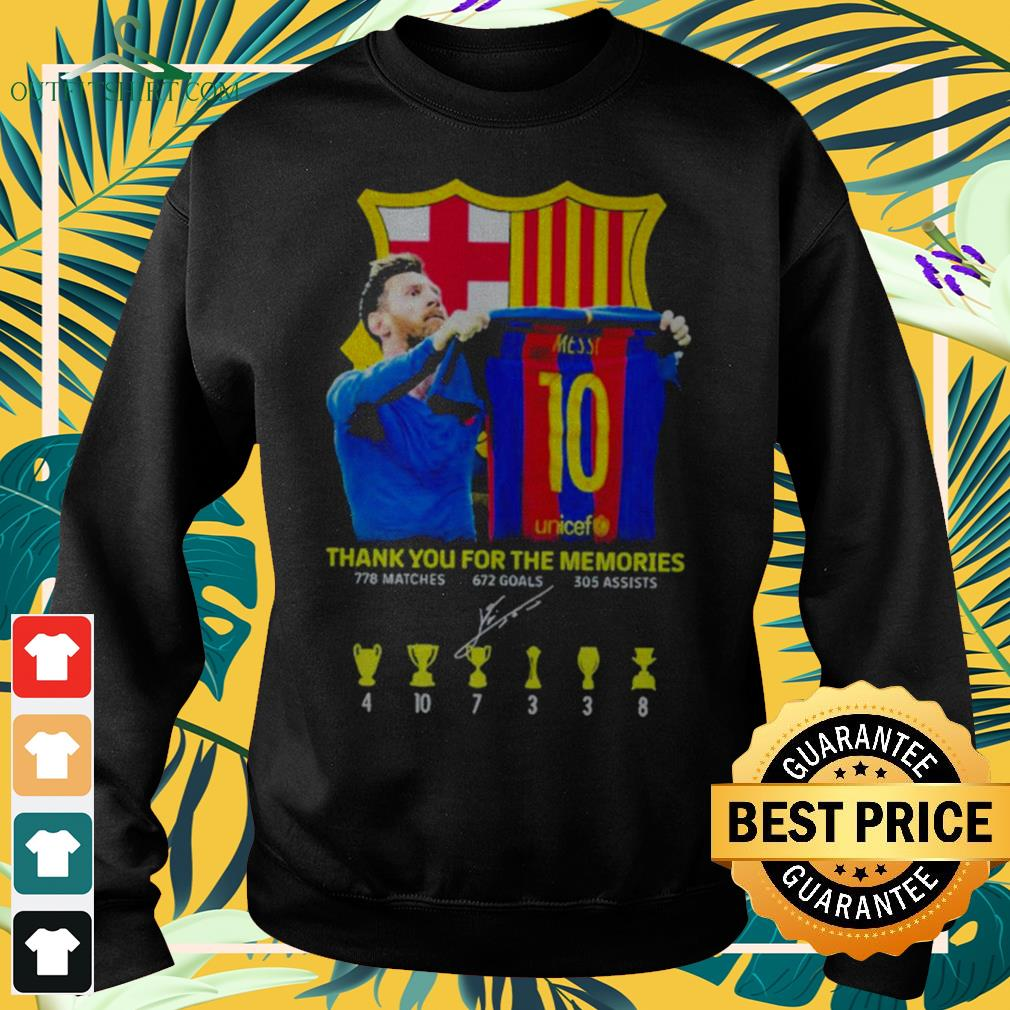 Lionel Messi thank you for the memories 778 matches 672 goals 305 assists signature sweater