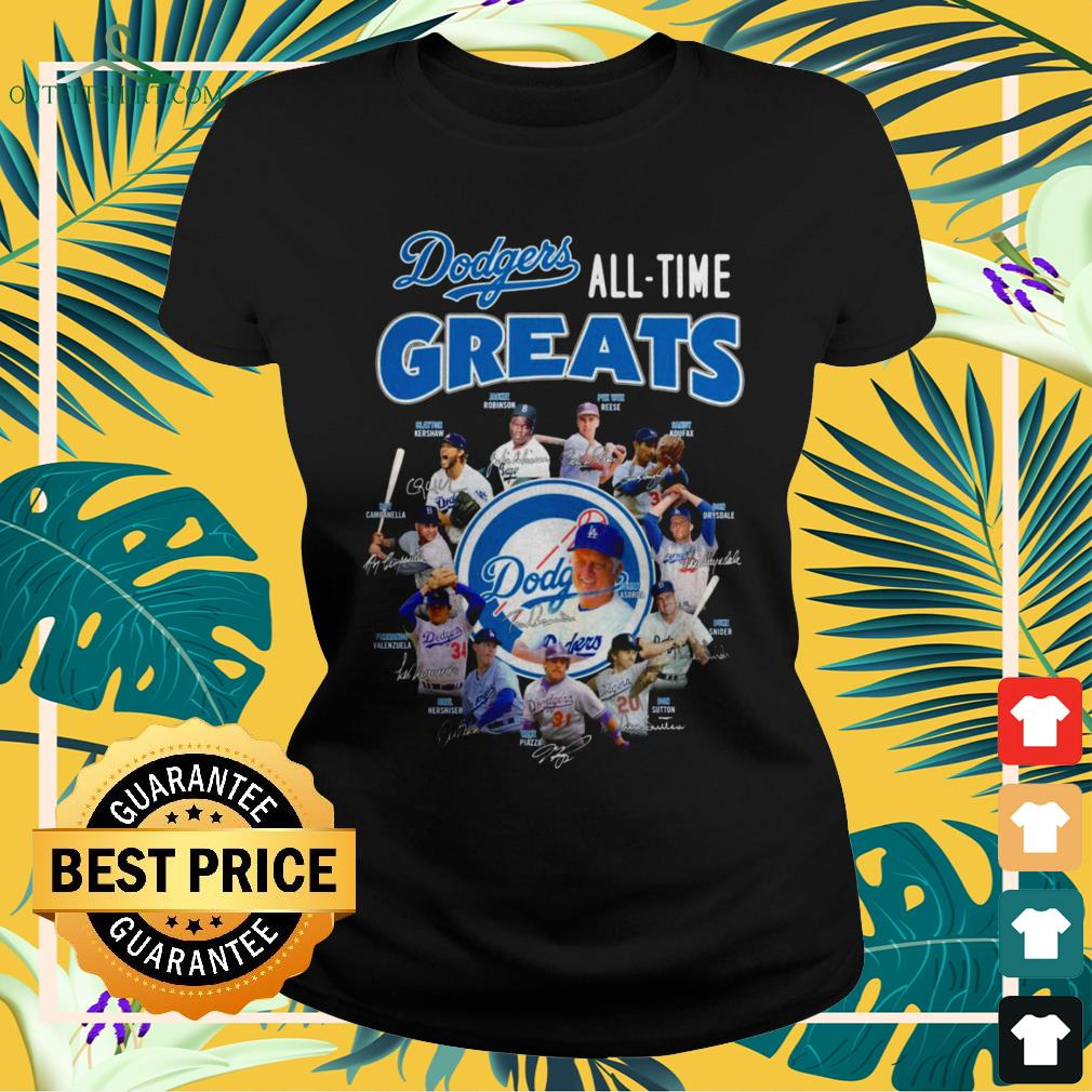 Los Angeles Dodgers All-time greats signatures ladies-tee