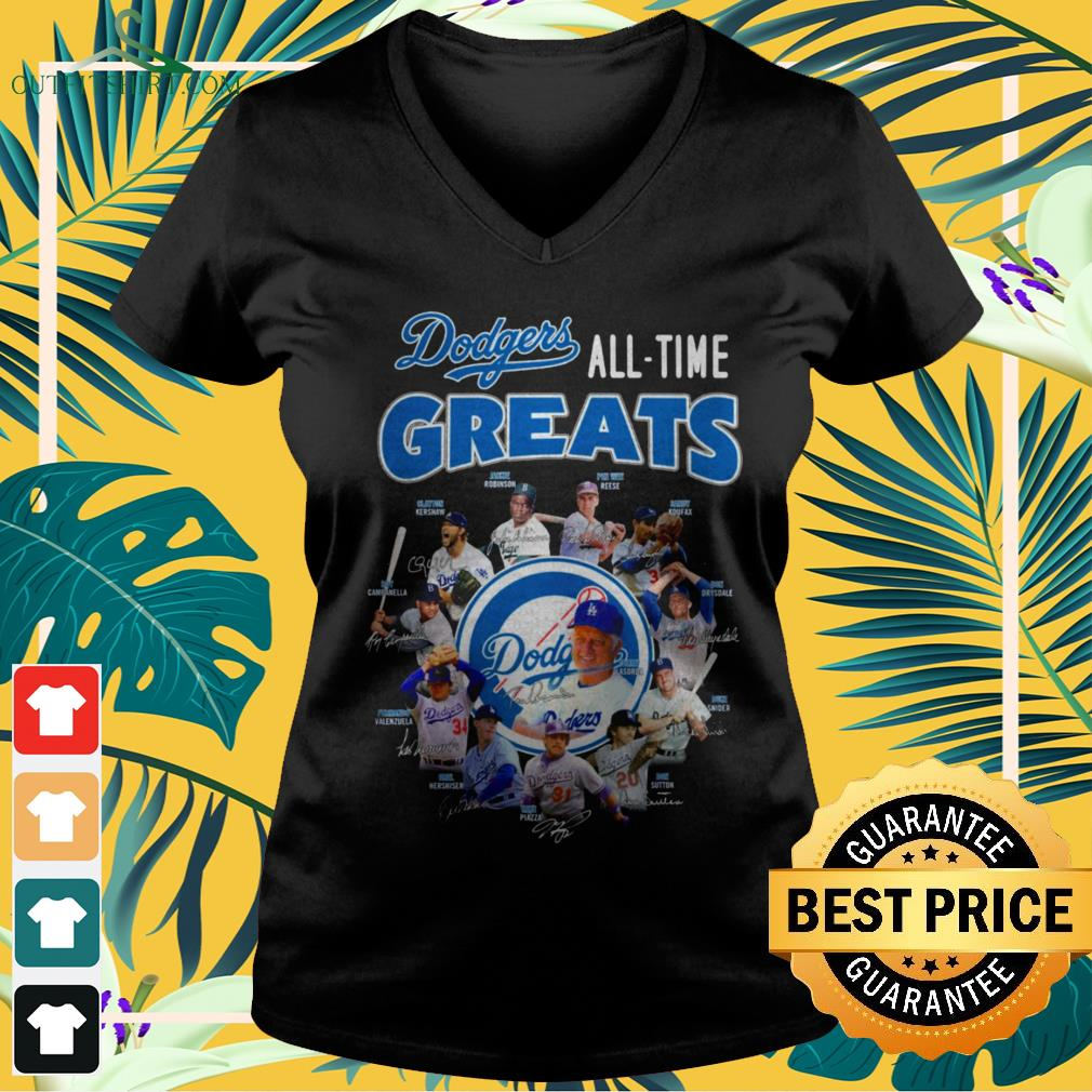 Los Angeles Dodgers All-time greats signatures v-neck t-shirt