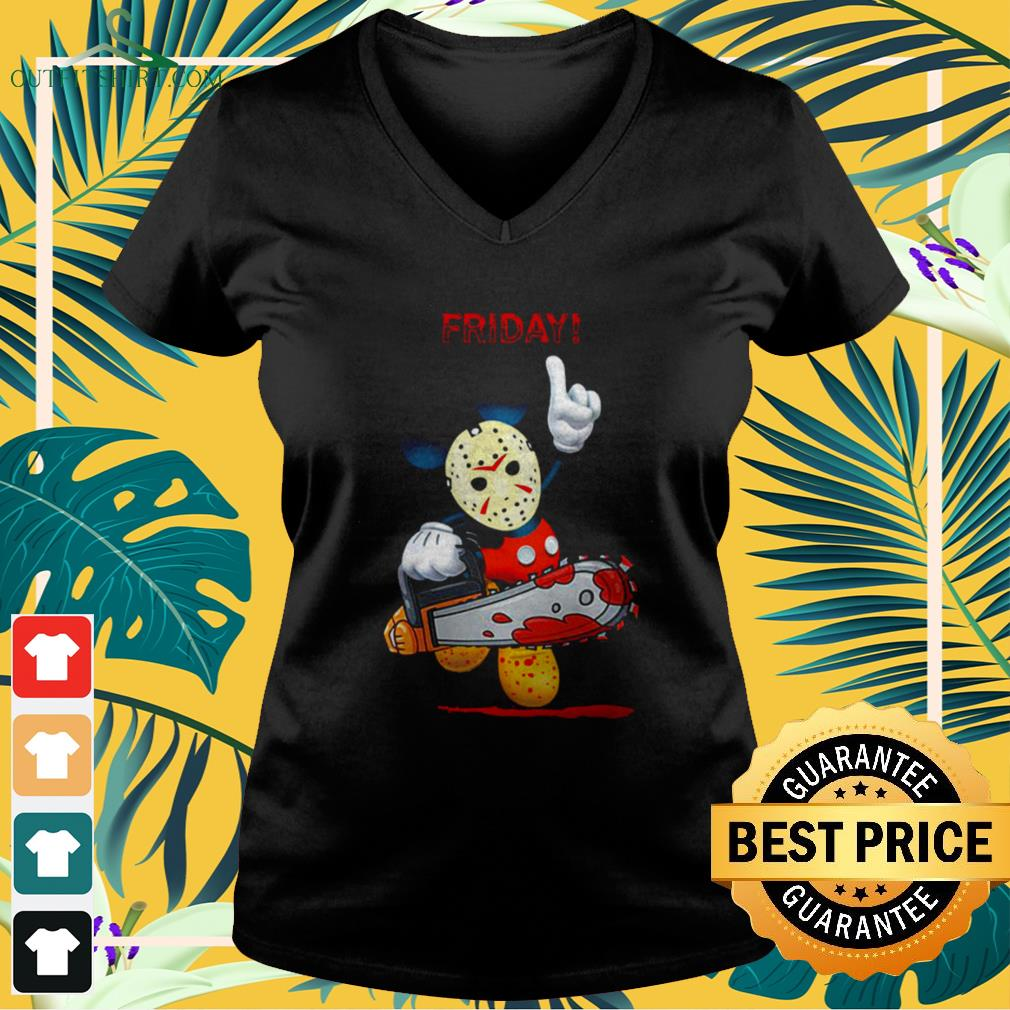 Mickey Mouse x Jason Voorhees Friday Halloween v-neck t-shirt