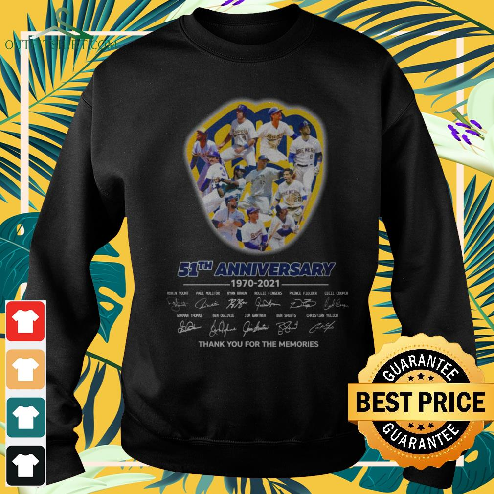 Milwaukee Brewers 51th Anniversary 1970-2021 thank you for the memories signatures sweater