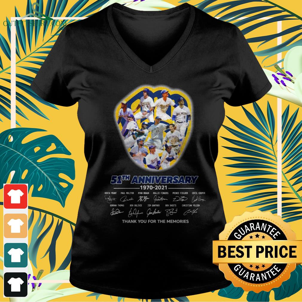 Milwaukee Brewers 51th Anniversary 1970-2021 thank you for the memories signatures v-neck t-shirt