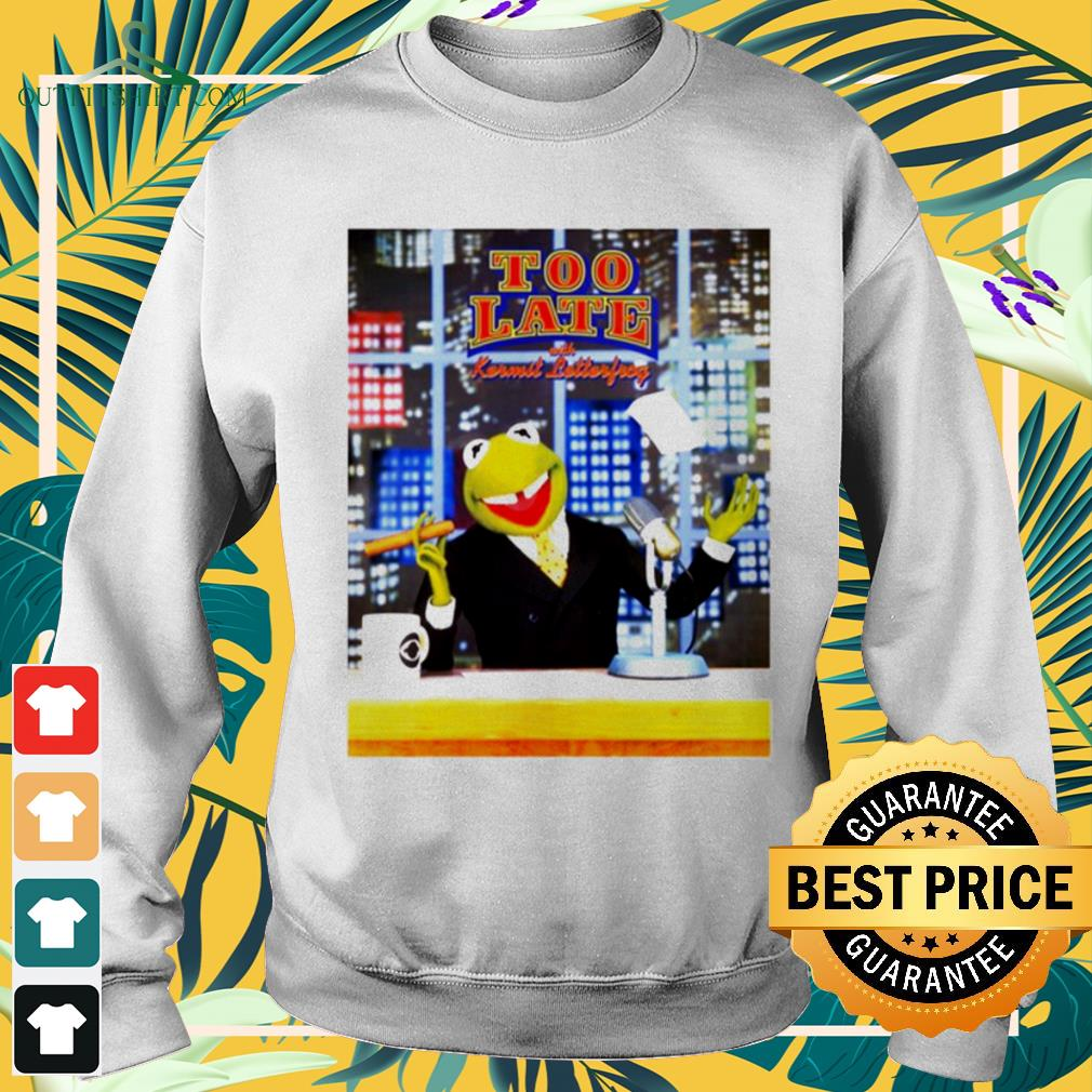 Too Late With Kermit Letterfrong David Letterman sweater