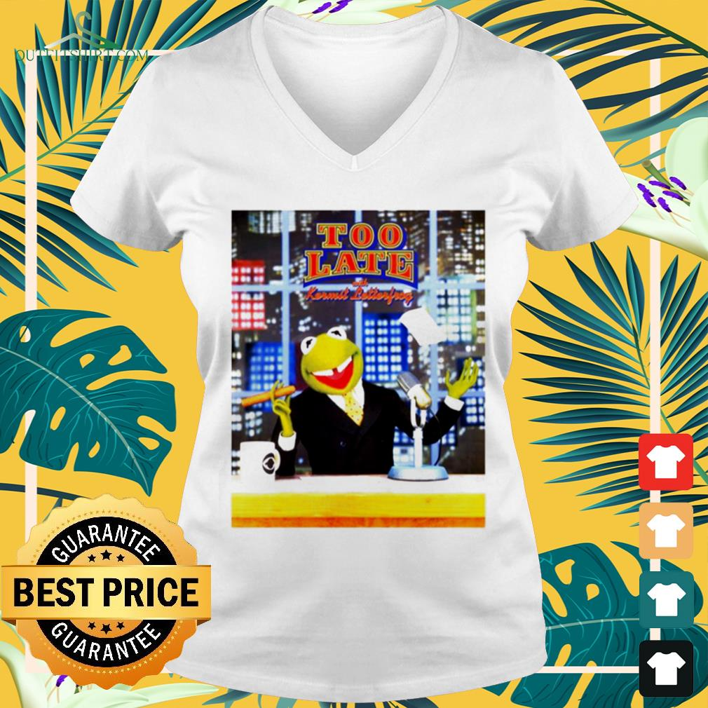 Too Late With Kermit Letterfrong David Letterman v-neck t-shirt