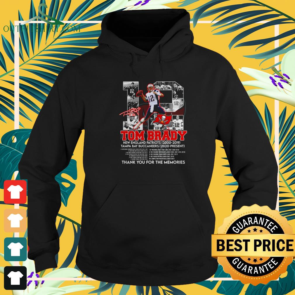 12 Tom Brady Tampa Bay Buccaneers thank you for the memories signature hoodie