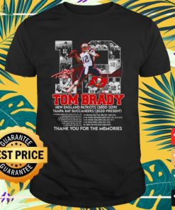 12 Tom Brady Tampa Bay Buccaneers thank you for the memories signature shirt