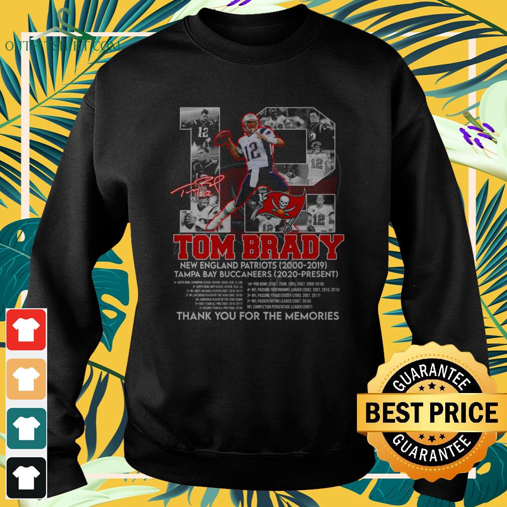 12 Tom Brady Tampa Bay Buccaneers thank you for the memories signature sweater