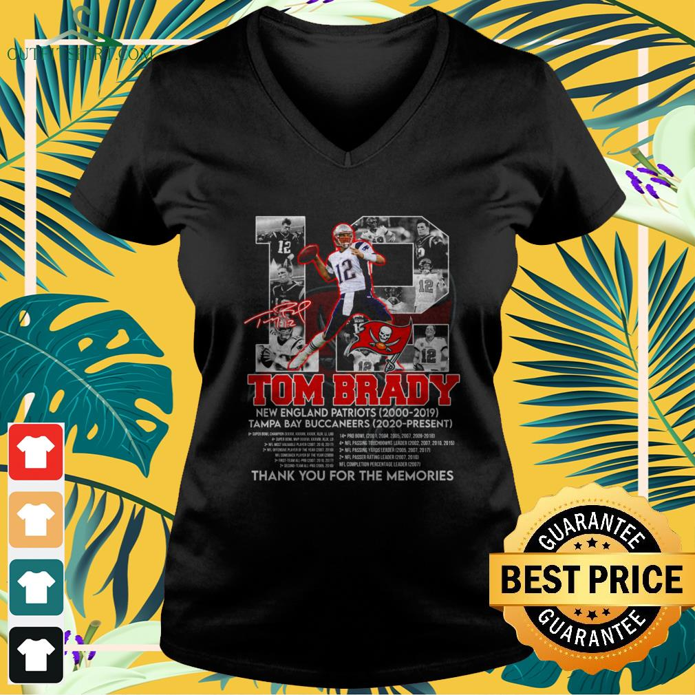 12 Tom Brady Tampa Bay Buccaneers thank you for the memories signature v-neck t-shirt