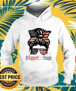 Messy buns girls support our troops American flag hoodie